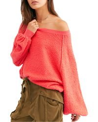 Free People Found My Friend Bouclé Pullover - Red