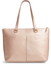 Nordstrom - Lexa Pebbled Leather Tote - Metallic - Lyst