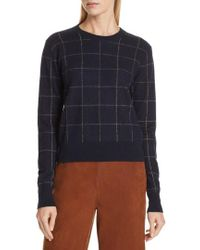 Vince - Windowpane Check Cashmere Sweater - Lyst