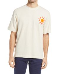 Closed Sun Embroidered Men's T-shirt - White