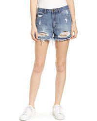 Articles of Society Meredith Ripped High Waist Denim Shorts - Blue