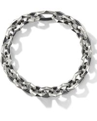 David Yurman Torqued Faceted Chain Link Bracelet - Metallic
