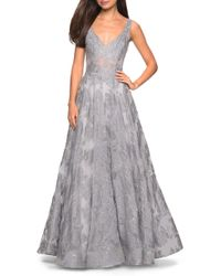 La Femme Lace A-line Evening Dress - Metallic