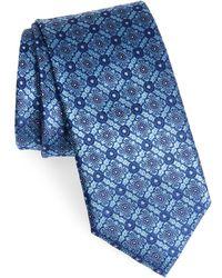 Canali Geometric Silk Tie - Blue