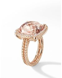 David Yurman Chatelaine Pavé Bezel Ring In 18k Rose Gold With Morganite - Pink