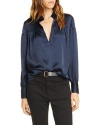 FRAME Shirred Hammered Silk Popover Shirt - Blue