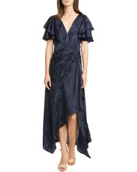 Tanya Taylor Clementine Ruffle Sleeve Silk Maxi Dress - Blue