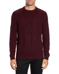 Ted Baker - Laichi Trim Fit Cable Crewneck Sweater - Lyst