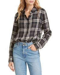 Jenni Kayne Plaid Placket Back Long Sleeve Shirt - Black