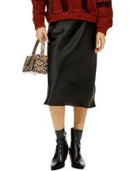 TOPSHOP Satin Midi Skirt - Black