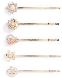 Berry | Gold Flower 5-pack Bobby Pins, Metallic | Lyst