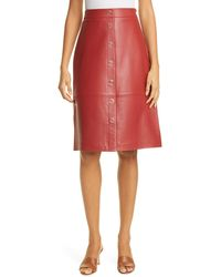 Ted Baker Snap Front Leather Pencil Skirt - Red