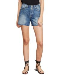 Habitual - Maddie High Rise Raw Edge Denim Shorts - Lyst