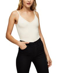 TOPSHOP Ecru Wide Ribbed V Neck Vest - Natural