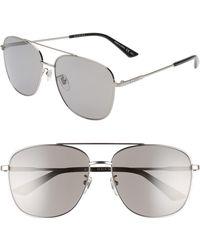157559ca43 Lyst - Gucci 61mm Polarized Aviator Sunglasses - Shiny Ruthenium in ...