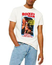 TOPMAN Rocket Man Graphic T-shirt - White