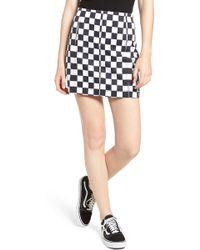 Tinsel Checkered Denim Miniskirt - Black