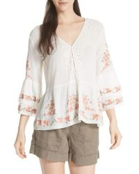 Joie - Kamile Embroidered Cotton Peasant Top - Lyst