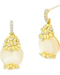 Freida Rothman Fleur Bloom Mother-of-pearl Drop Earrings - Metallic