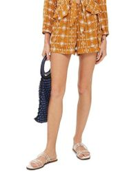 TOPSHOP - Embroidered Crinkle Shorts - Lyst