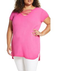 Seven7 - Double V-neck Tee - Lyst