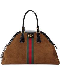 Gucci Large Re(belle) Suede Satchel - Brown