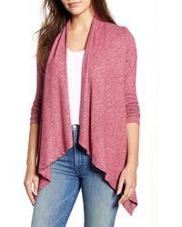 Bobeau Amie Waterfall Knit Cardigan - Pink