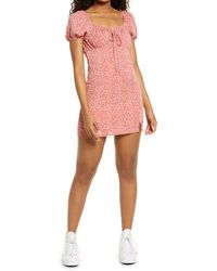 BP. Ditsy Floral Tie Front Minidress - Pink
