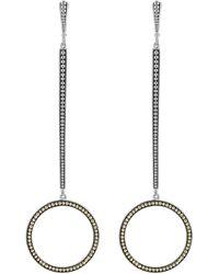 Lagos Signature Caviar Linear Hoop Earrings - Metallic
