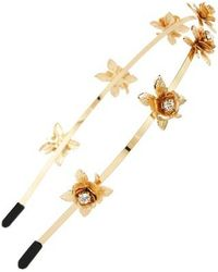 Cara Crystal Flower Headband - Metallic