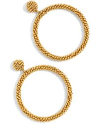 J.Crew | J.crew Beaded Drop Hoop Earrings | Lyst
