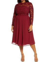 Chi Chi London Curve Ella-louise Lace & Chiffon Long Sleeve Dress - Red