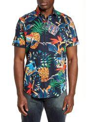 Robert Graham Postcards Regular Fit Tropical Short Sleeve Button-up Sport Shirt - Blue