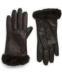 UGG UGG Genuine Shearling Leather Tech Gloves - Black