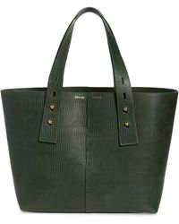FRAME Les Second Medium Embossed Leather Tote - Green