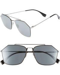 Fendi - 59mm Navigator Sunglasses - Ruthenium - Lyst