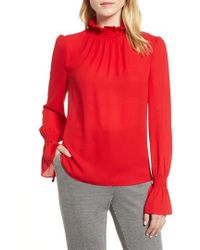 Vince Camuto - Smocked Neck Blouse - Lyst