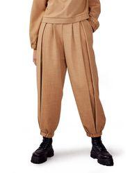 TOPSHOP Lara Luxe Wide Leg Sweatpants - Brown