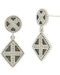Freida Rothman - Industrial Finish Double Drop Earrings - Lyst