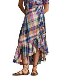 Polo Ralph Lauren Madras Plaid Linen Wrap Skirt - Blue