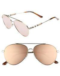 Burberry - 57mm Mirrored Aviator Sunglasses - - Lyst