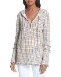 Tory Burch - Hollis Baja Hooded Pullover - Lyst