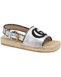 Gucci Pilar Square-toe GG Espadrille Sandals - Gray