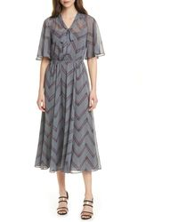Emporio Armani Chevron Print Tie Neck Dress - Gray