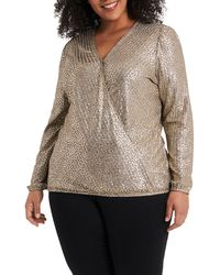 Vince Camuto Foil V-neck Blouse - Multicolor