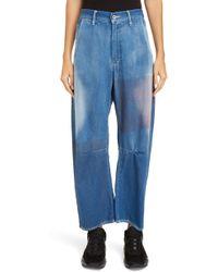 Y's Yohji Yamamoto Dye Patch Wide Leg Jeans - Blue