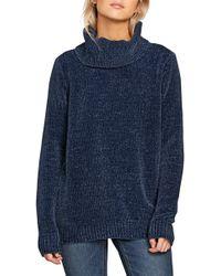 Volcom Cozy On Over Chenille Turtleneck Sweater - Blue