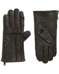 John Varvatos Articulated Zipper Leather Gloves - Black