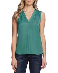 Vince Camuto Rumpled Satin Blouse - Green