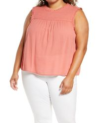 Caslon Caslon Floral Smock Detail Cotton Blend Sleeveless Blouse - Pink